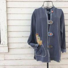 Size XL Long Sweatshirt jacket in denim blue reconstructed Refashion Dress, Sweatshirt Refashion, Sweatshirt Dress, Old Sweater, Long Jackets, Blue Denim, Sweatshirts, Halloween Sweatshirt, Hippie Bohemian