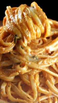 Super Creamy Tomato Alfredo Garlic Linguine. My most requested pasta dish.