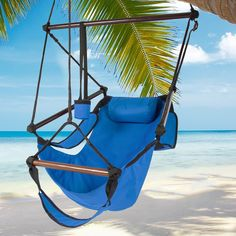"Hammock Hanging Chair Air Deluxe Sky Swing Outdoor Chair Solid Wood 250lb BLUE. Made with double layer 600D nylon, this weather resistant hammock is perfect for outdoor or indoor use. This ready to assemble product is designed with a layer of nylon webbing around all the edges (1"" thick) and 12 UV protected, polypropylene rope for a durable built. Product dimensions: 42"" (L) x 30.5"" (W), Weight capacity: 250 lbs. SPECIFICATIONS:. Includes hardwood oak dowels are sanded and stained with a…"