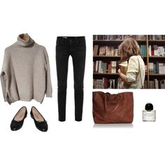 A fashion look from November 2014 featuring brown shirt, stretch jeans and flat shoes. Browse and shop related looks.