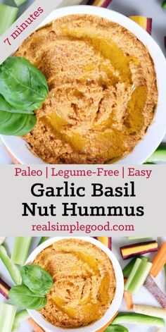 Invite some friends over, and make a batch of this garlic basil nut hummus! Get to dipping and enjoy a Paleo friendly version of a favorite snack! Paleo, Gluten-Free + Legume-Free.  realsimplegood.com
