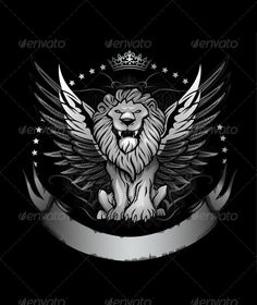 Winged Lion Front View Insignia  #GraphicRiver         Black and white lion front view with wings and banner emblem   main file – vector EPS hi-res PSD with transparency and layers included hi-res PNG with transparency included     Created: 3October12 GraphicsFilesIncluded: PhotoshopPSD #TransparentPNG #JPGImage #VectorEPS Layered: Yes MinimumAdobeCSVersion: CS Tags: antique #banner #beast #blackandwhite #cat #claw #coatofarms #crown #dark #drawing #emblem #fearsome #front #heraldic…