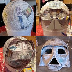 Instructions to make your own paper mache Darth Vader Mask by Jen Goode. Darth Vader Helm, Costume Star Wars, Star Wars Halloween Costumes, Paper Mache Mask, Paper Mache Crafts, Star Wars Birthday, Star Wars Party, Dollar Store Crafts, Dollar Stores