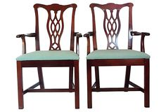 Chippendale-Style Mahogany Chairs, Pair on OneKingsLane.com