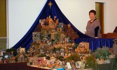 I love the rich blue fabric hung up behind the nativity set . and star at the top . Fontanini Nativity, Diy Nativity, Christmas Nativity Set, Nativity Sets, Christmas Figurines, Christmas Tea, Christmas Villages, Christmas Wedding, Christmas Sweaters