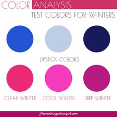 Test colors for Winter seasonal color women to find your possible seasonal color palette
