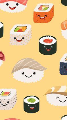 Disney Phone Wallpaper, Food Wallpaper, Emoji Wallpaper, Kawaii Wallpaper, Tumblr Wallpaper, Wallpaper Iphone Cute, Pattern Wallpaper, Wallpaper Backgrounds, Sushi Drawing