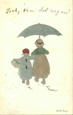 Gratulasjonskort Kunstnerkort Lisbeth Bergh. Barn m/paraply. Utg John Fredriksons forlag Stemplet 1908