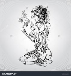 Unity With Nature Stock Vector Illustration 342769982 : Shutterstock Tattoo Sketches, Tattoo Drawings, Body Art Tattoos, Art Drawings, Faerie Tattoo, Nature Symbols, Future Tattoos, Erotic Art, Animal Drawings