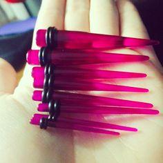 14 to 00 Gauge Nine Piece Fuchsia Acrylic Ear Stretching Taper Kit | Body Candy Body Jewelry