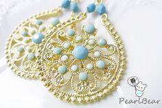 Blue Bohemia Style Earrings 清爽民族風‧土耳其藍 縷空雕花勾式耳環