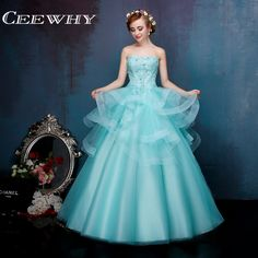 Ice Blue Embroidery Crystal Strapless Ruffles Ball Gown Floor-Length Quinceanera Dresses Sweet 16 Dresses 2017 High Quality #Affiliate