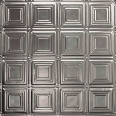 Armstrong Ceilings (Common: x Actual: x Metallaire Small Panels Chrome Metal/Tin Drop Panel Ceiling Tiles at Lowe's. Metallaire panels are made from real metal and are coated to protect from rust. Metallaire can be installed in 2 ways – surface mount x Tin Tile Backsplash, Backsplash Panels, Tin Tiles, Tin Ceiling Tiles, Metal Ceiling, Ceiling Decor, Ceiling Ideas, Molding Ceiling, Stainless Backsplash