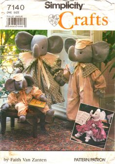 Simplicity 7140 Mama and Papa ELEPHANT and Baby Brother Sister Toy elephant sewing pattern by mbchills,