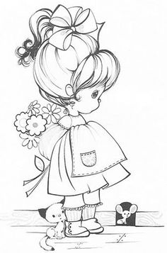 """Two images from Hallmark """"Charmer"""" Coloring Book by whalan Embroidery Patterns, Hand Embroidery, Doily Patterns, Embroidery Dress, Dress Patterns, Precious Moments Coloring Pages, Coloring Book Pages, Digital Stamps, Printable Coloring"""