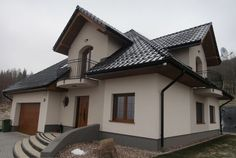 Elewacje Zuzzy: Grafitowy dach i okna dębowe na weekend House Doors, Facade House, Modern Architecture House, Architecture Design, Entrance Decor, Mansions Homes, Home Reno, Design Case, House Painting