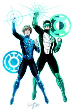 GL Kyle Rayner and BL Terry Berg by LucianoVecchio on DeviantArt Green Lantern Movie, Green Lantern Corps, Green Lanterns, Red Lantern, Superhero Characters, Dc Comics Characters, Green Lantern Kyle Rayner, Comic Art, Comic Books