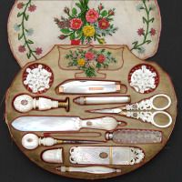 VR Antique French Palais Royal Sewing Box and Twelve Mother of Pearl Enamel Tools