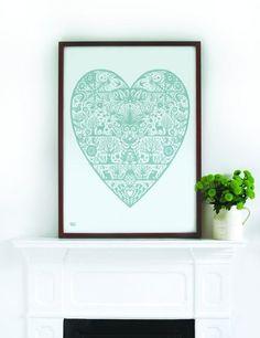 My Heart, in Duck Egg Blue Print www.roseandgrey.co.uk