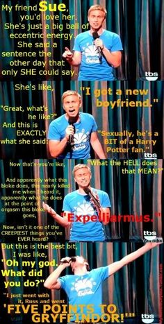 Russell Howard: Sexually he's a bit Harry Potter....