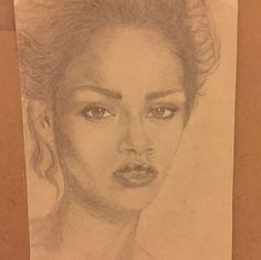 graphite on paper #Rihanna