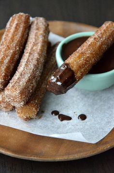 Easy Homemade Churros with Chocolate Sauce from Just a Taste are the perfect dessert or Cinco De Mayo treat! Easy Homemade Churros with Chocolate Sauce from Just a Taste are the perfect dessert or Cinco De Mayo treat! Mexican Food Recipes, Sweet Recipes, Dessert Recipes, Pastries Recipes, Simple Recipes, Fall Recipes, Think Food, Love Food, Chocolate Sauce Recipes