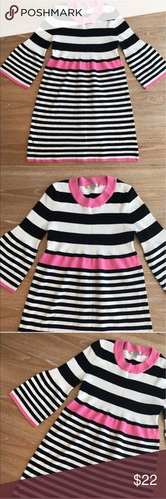 """ARIZONA STRIPES MINI DRESS Black, White and Pink Arizona Dress. Perfect conditions. Fabric: Cotton, Stretches. Bust armpit to armpit laying flat is 16 and stretches up to 18""""-20"""" due to sweater fabric. Length is 30"""". This is nice for fall and winter with leggins and boots. 💗Condition: EUC, No flaws, holes or stains. 💗Smoke free home/ pet hair free 💗No trades 💗No returns 💗No modeling  💗Shipping next day 💗OPEN TO reasonable OFFERS  💗BUNDLE and save more. item#20 Arizona Jean Company…"""