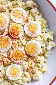 "A low-carb faux ""potato"" salad made with cauliflower instead of potatoes, perfect for Keto or if you're just looking to eat less carbs. #keto #skinnytaste #lowcarb #mockpotatosalad #summersides"