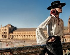 """Modern Flamenco Style """"Latina-Rosa Style"""" A . Latina/Lady that wears a rose or roses; especially a pink or red rose/roses! Spanish Hat, Spanish Style, Spanish Fashion, Provocateur, Western Wear, Editorial Fashion, High Fashion, Fashion Beauty, Fashion Photography"""