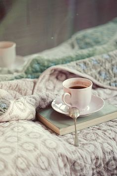 Dark tea + blanket + book = LOVE!
