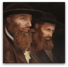 Title: My God is Able to Deliver me from the Fiery Furnace but even if he Does Not.  From the artist: When Lili Jacobs accidently discovered the Auschwitz Album at the close of WWII, the very first person she saw when she looked inside was Rabbi Naftali Zvi Weiss, the chief rabbi of Bilke (pictured left), her Rabbi from her home town. I was struck by the Yellow Star on the Rabbi's jacket; it actually appears to be cringing. #Holocaust