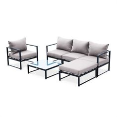 Salon De Jardin 5 Places Acatium En Aluminium, Structure Anthracite within Salon De Jardin Anthracite Sectional Furniture, Iron Furniture, Outdoor Lounge Furniture, Steel Furniture, Steel Sofa, Stainless Steel Coffee Table, Wooden Sofa Designs, Garden Sofa Set, Sofa Frame