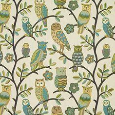 Premier Prints Hooty Owl White/Black Fabric By The Yard
