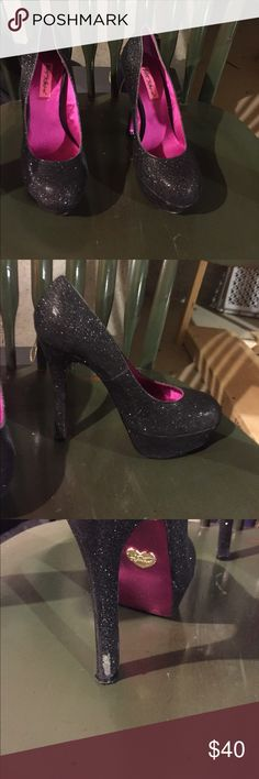 Betsey Johnson Sparkle heel Small scuff on back heel. Excellent condition. Worn once with box. Betsey Johnson Shoes Heels