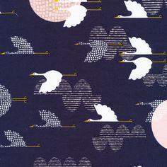 Navy + light pink + cranes = loving it!  1000 Cranes | Indigo :: Tsuru by Rashida Coleman-Hale for Cloud9 Fabrics