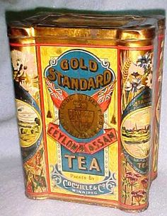 "Gold Standard Ceylon & Assam Tea vintage tea tin, packed by Codville & Co, Winnipeg [Manitoba], lithographed tin made by the ""Thomas Davidson Mfg. Limited Montreal, c."