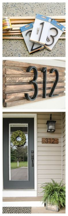 Modern House address numbers made with the Cricut Explore machine