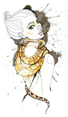girl with boa Illustration by Sara Ligari