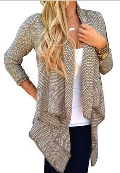 Cardigan Knit Asymmetric Lapel Loose Sweater - May Your Fashion - 1