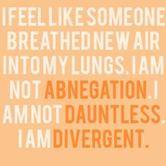 I feel like someone breathed new air into my lungs. I am not Abnegation. I am not Dauntless. I am Divergent.