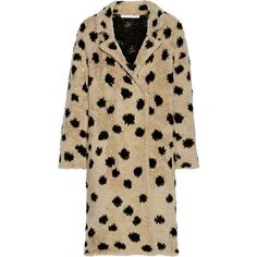 Thakoon Addition Ocelot wool-blend coat (€370) ❤ liked on Polyvore featuring outerwear, coats, nude, brown coat, wool blend coat and thakoon addition