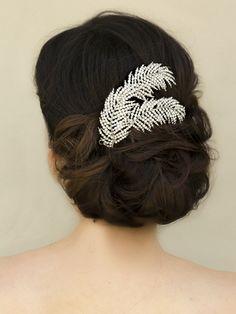 Rhinestone Leaf Bridal Headpiece ~ Tessa - Bridal Hair Accessories, Wedding Headpieces, Bridal, Wedding, Hair Accessories, Headpieces, Combs, Clips, Hair Pins, Flowers, Headbands, Tiaras, Jewelry, Vintage, Beach - Hair Comes the Bride.