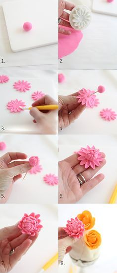 Cupcakes decoration fondant flowers polymer clay 48 ideas for 2019 Sugar Paste Flowers, Icing Flowers, Buttercream Flowers, Fondant Flowers, Cake Flowers, Flower Cakes, Fondant Icing, Fondant Toppers, Fondant Cakes