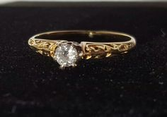 Edwardian 14K Gold Solitaire Ring with by BlingThingsJewlery