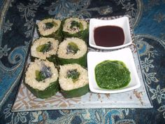 Foraged sushi with stinging nettle greens & milk thistle leafs