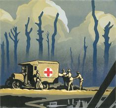 made by: Chris Wormell , illustration (Red cross ambulance WW 2)