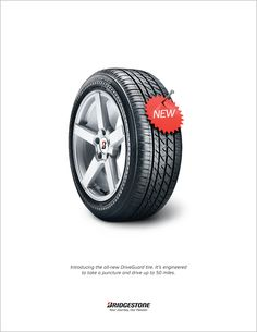 engineered to go another 50 miles after a puncture or two. Bridgestone tire ad shot by Craig Cutler. Guerrilla Advertising, Clever Advertising, Advertising Campaign, Advertising Design, Marketing And Advertising, Ads Creative, Creative Posters, Teaser Campaign, Ad Of The World