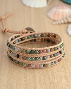 Triple wrap fancy jasper beaded leather bracelet. by SinonaDesign