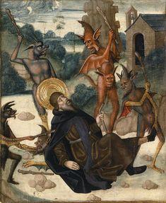 "koredzas: "" Juan de la Abadía el Viejo - Scene from Life of Saint Anthony Abbot 1490 "" Anthony The Great, San Antonio Abad, Dark Pictures, Dark Pics, Baphomet, Sea Art, Catholic Art, Macabre, Creepy"