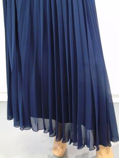 eb18725dba5f Chiffon Pleated Navy Blue Maxi Skirt Size 8 Retro Double Layer New Look UK  Co #